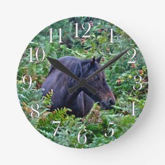 Rare Black New Forest Pony - Wild Horse - England Round Clock