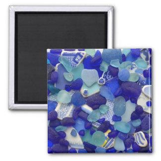 Rare blue and aqua sea glass, beach magnet