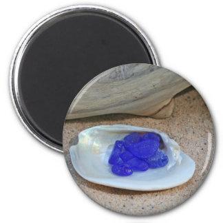 Rare Cobalt Blue Beach Glass Magnet