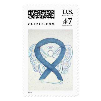 Rare Disease Awareness Denim Ribbon Angel Stamps