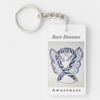 Rare Diseases Awareness Ribbon Angel Keychain