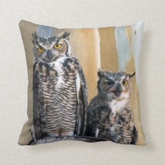 Rare Great Horned Owl Mated Pair Throw Pillow