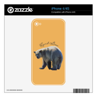 Rare Kermode Bear (Spirit Bear) Wildlife Design Skins For iPhone 4S