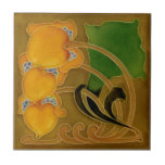 """Rare Marsden c1900 Floral Art Nouveau Repro Ceramic Tile<br><div class=""""desc"""">Beautiful shades of apricot, blue, green, and mocha as well as the bold nouveau design, make this tile a standout. Originals of this choice tile sell for about $500 these days. You can own this replica for a small fraction of the cost of the originals -- if you can even...</div>"""