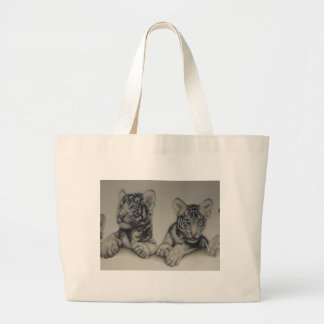 Rare Pair  White Tiger Cubs Large Tote Bag
