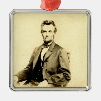 RARE President Abraham Lincoln STEREOVIEW VINTAGE Metal Ornament