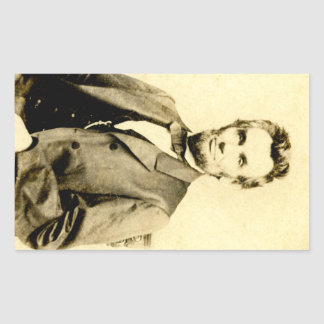 RARE President Abraham Lincoln STEREOVIEW VINTAGE Rectangular Sticker