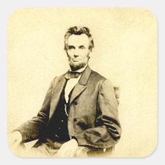 RARE President Abraham Lincoln STEREOVIEW VINTAGE Square Sticker