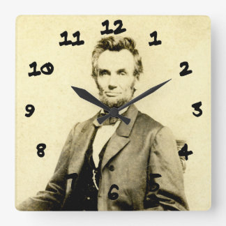 RARE President Abraham Lincoln STEREOVIEW VINTAGE Square Wall Clock