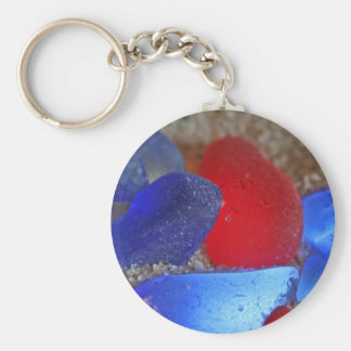 Rare Red And Cobalt Blue Seaglass Basic Round Button Keychain