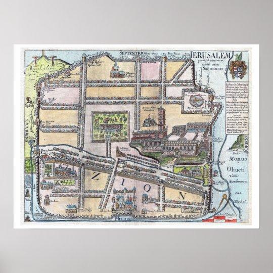 Rare restored antique map of Jerusalem Poster