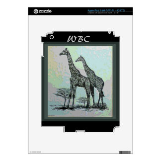 Rare Retro African Giraffes in High Color Design Skins For iPad 3