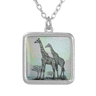 Rare Retro African Giraffes in High Color Design Square Pendant Necklace
