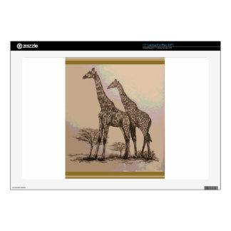 "Rare Retro African Giraffes in Sepia & Pastels 17"" Laptop Skin"