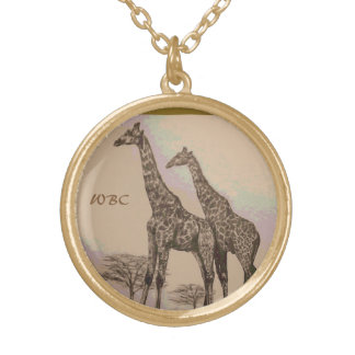 Rare Retro African Giraffes in Sepia & Pastels Gold Plated Necklace