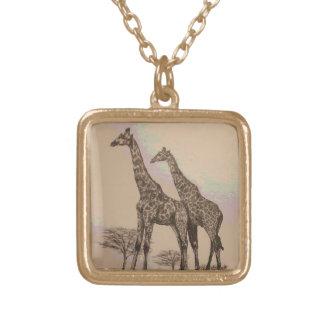 Rare Retro African Giraffes in Sepia & Pastels Pendant