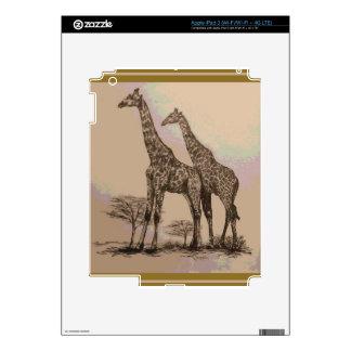 Rare Retro African Giraffes in Sepia & Pastels Skins For iPad 3