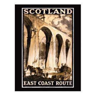 Rare Scotland Vintage Travel Poster Restored Postcard