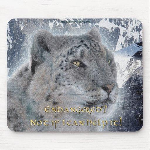 Rare Snow Leopard & Mountains Mousemat Mouse Pads
