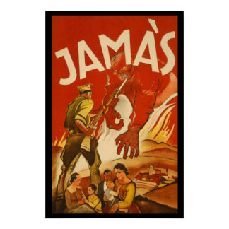 Rare Spanish Civil War Poster JAMAS
