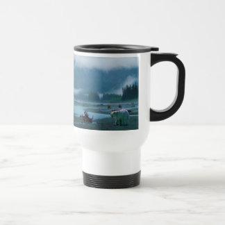 Rare Spirit Bear and Misty BC River 15 Oz Stainless Steel Travel Mug