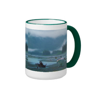 Rare Spirit Bear and Misty BC River Ringer Coffee Mug