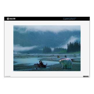 Rare Spirit Bear and Misty River Wildlife Scene Laptop Decals