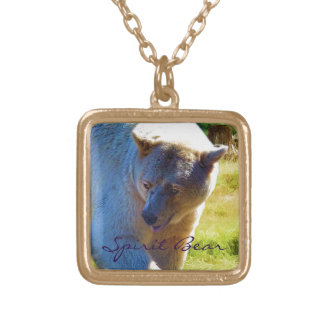Rare Spirit Bear and Sunlight Wildlife Scene Square Pendant Necklace