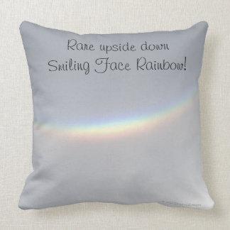 Rare Upside Down Smiling Face Rainbow Jersey Shore Throw Pillow