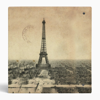 Rare vintage postcard with Eiffel Tower in Paris 3 Ring Binder