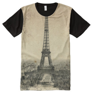 Rare vintage postcard with Eiffel Tower in Paris All-Over Print T-shirt