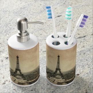 paris bathroom set. Rare vintage postcard with Eiffel Tower in Paris Bath Set Accessory Sets  Zazzle
