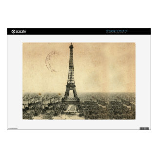 """Rare vintage postcard with Eiffel Tower in Paris Decals For 15"""" Laptops"""