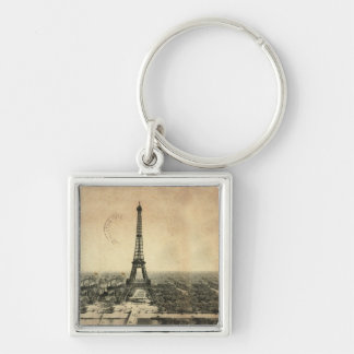 Rare vintage postcard with Eiffel Tower in Paris Silver-Colored Square Keychain