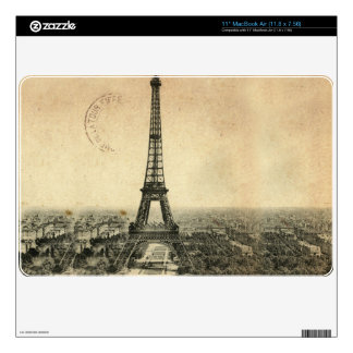 Rare vintage postcard with Eiffel Tower in Paris Skin For The MacBook Air
