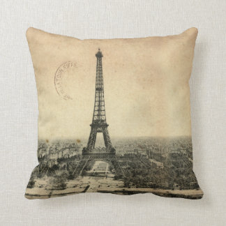Rare vintage postcard with Eiffel Tower in Paris Throw Pillow