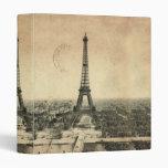 Rare vintage postcard with Eiffel Tower in Paris Vinyl Binders