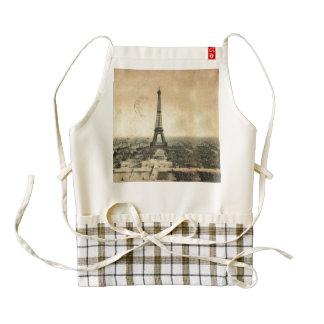 Rare vintage postcard with Eiffel Tower in Paris Zazzle HEART Apron