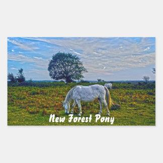 Rare White New Forest Ponies, Wild Horse - England Rectangular Sticker
