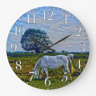 Rare White New Forest Ponies, Wild Horses, England Large Clock