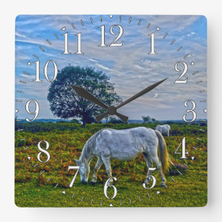 Rare White New Forest Ponies, Wild Horses, England Square Wall Clock