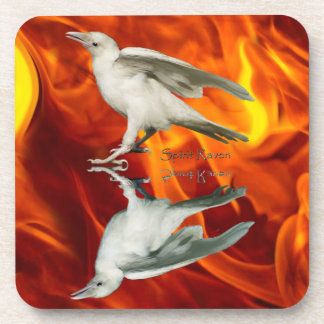 Rare White Raven Fantasy Photo Art Drink Coaster