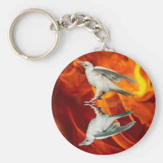 Rare White Raven Fantasy Photo Art Keychain