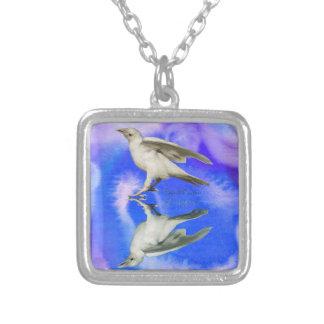 Rare White Raven Fantasy Photo Art Silver Plated Necklace