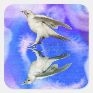 Rare White Raven Fantasy Photo Art Square Sticker