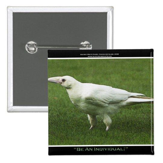 Rare White Raven Motivation Pin