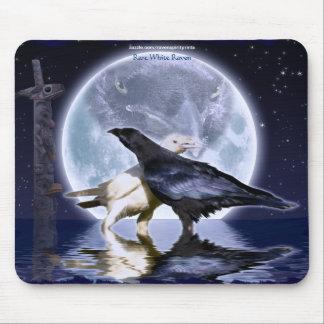 Rare White Ravens & Moon Wildlife Fantasy Art Mouse Pad