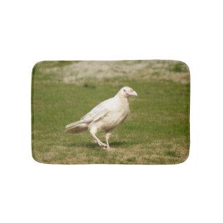 Rare White (Spirit) Raven and Grass Bath Mat
