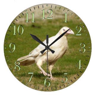 Rare White (Spirit) Raven and Grass Wall Clock