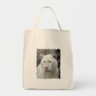 Rare White Tiger Grocery Tote Bag